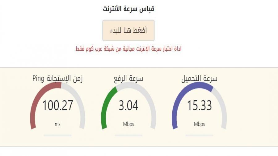 قياس سرعة الانترنت الحقيقية بالميجا من جهازك